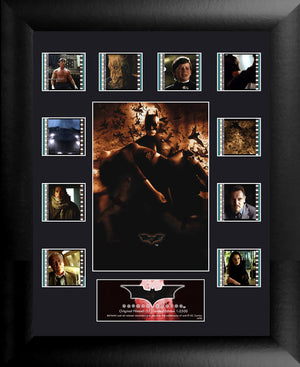 "Batman Begins (S1) MM  Collection. It's not who I am underneath, but what I do that defines me. Celebrate the beginnings of a legend in Christopher Nolan's Batman Begins with this limited edition of 2500 framed FilmCells™ presentation featuring an image of Batman™, a certificate of authenticity, and ten different clips of real 35mm film from the movie. Size: 11"" x 13""  