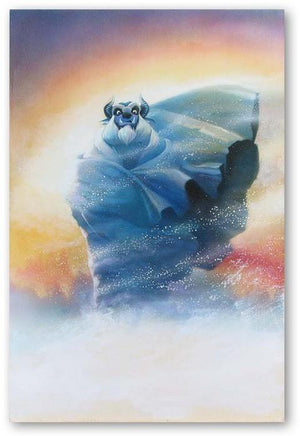 The Beast from Beauty and the Beast wrapped in a shawl making his way through the snow bizzard.