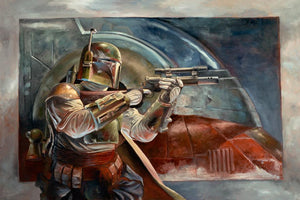 A side view illustation of Boba Fett holding his laser.