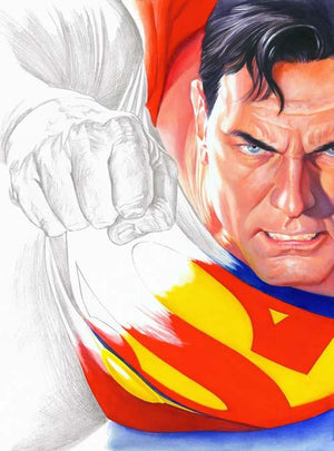 This is the cover art for the newest Alex Ross art book: Rough Justice, which features the original drawings and sketches of Alex Ross.
