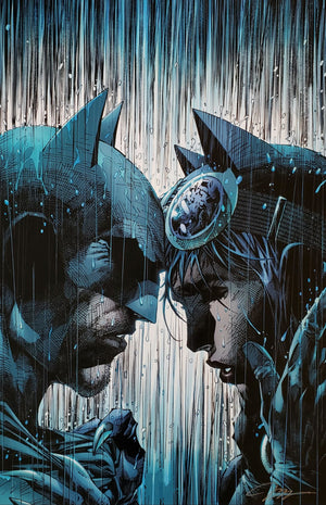 Batman and Catwoman standing head to head in the rain.
