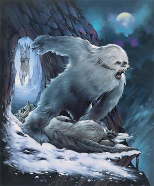 The Wampa stands boasting it's kill of the tauntaun by the ice cave in Hoth.