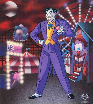 Classic Joker dressed in his zoot suit and spectator shoes standing in front of the Carnival Fun House
