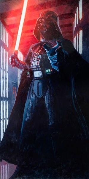 Darth Vader with a lightsaber in hand