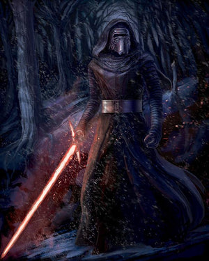 Kylo Ren out in the dark snowy forest with crossguard lightsaber in hand.