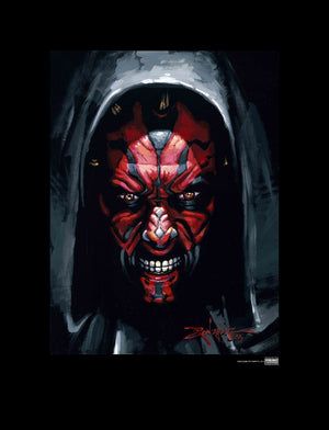 Darth Maul in a hooded cape.