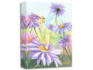 Tinker Bell is smelling the purple daisies