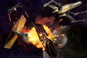 X-Wing starfighters blast a Tie Fighter into pieces, in a galactic battle.
