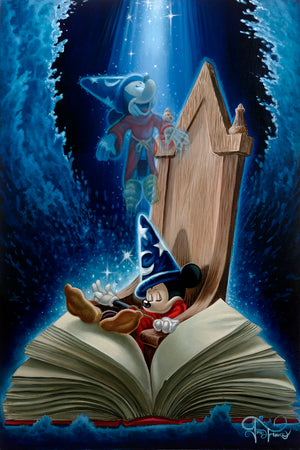 Dreaming of Sorcery by Jared Franco  Sorcerer Mickey fast asleep, with his book of magic spells, dreams of sorcery.