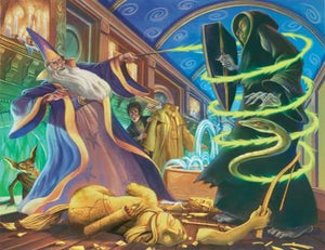 The wizards professor Albus Dumbledore and Dementor duel it out.