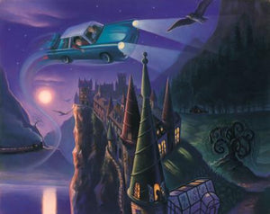 Harry Potter and friends take a nightly drive over Hogwart in the enchanted flying Ford Anglia car.