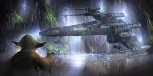 Yoda uses the Force to raise Luke's X-wing Starfighter from the depths of the swamp.