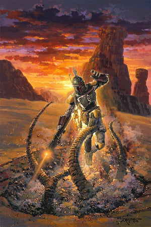Boba Fett battles with the strange beast called Sarlacc.