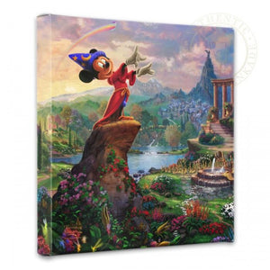 Mickey stands in the center in this colorful natural landscape, with Mickey the Sorcerer  in total control.