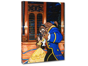 Belle and the Beast dancing in the ballroom at the Beast's Castle