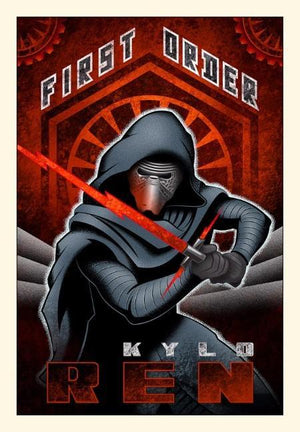 Poster style of Kylo Ren with crossguard lightsaber in hand