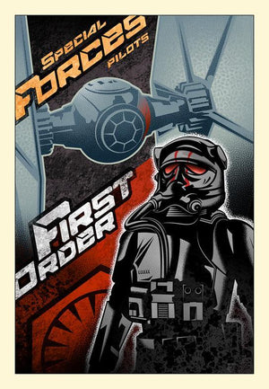 Poster style: First Order Special Forces TIE Fighter and First Orders, First Order TIE Fighter Pilot.