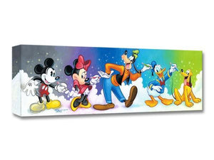 Friends By Design, by Tim Rogerson | Disney Treasures Collection - Mickey, Minnie, Goofy, Donald Duck, and Pluto drawing each other...Gallery Wrap on Canvas.