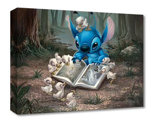 Friends of a Feather by Jared Franco.  The young ducklings gather around Stitch as he shows them a pictures of a lost ducking in a book.