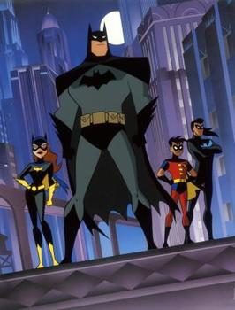 Nighttime in Gotham City with Batman, Catwoman, Robin and Nightwing standing tall.