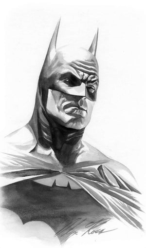 An black and white rendering portraying Batman in a more minimalistic style.