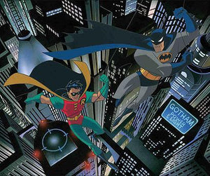 Batman and Robin hovering high over Gotham City.