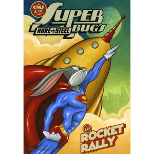 Bugs in a Superman suit in - Super Bugs Hare of Steel flying along a Rocket.