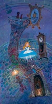Alice, along with a chimney fireplace, table, lamp, mirror, and grand clock, appears to be winding down the rabbit hole.