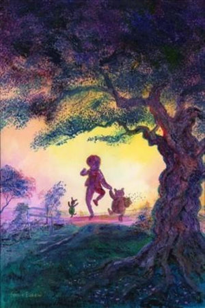Piglet leads the way, as Christopher Robins, and Winnie the Pooh hold hands as they skip through the trail together.
