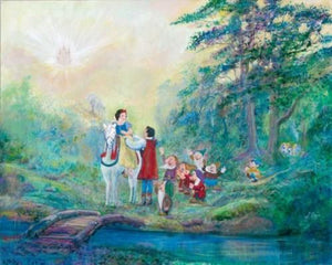 Snow White is rescued by the Prince in his white horse, dwarfs all rejoice as the Prince takes Snow White back to his castle.