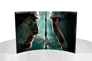 "Harry Potter and the Deathly Hallows - P2  Collection - Featuring an image of a clashing Harry and Voldemort from Harry Potter and the Deathly Hallows Part 2 | 14""x 9"" free-standing curved glass..."