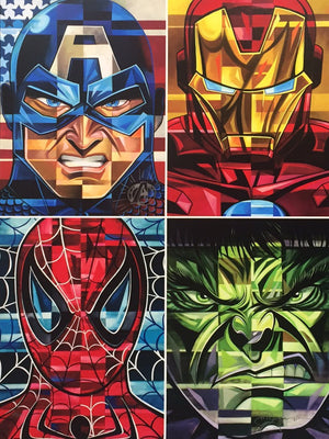 Marvel's most sought after and beloved Heroes: Spider-Man, Iron Man, Hulk, and Capt. America!