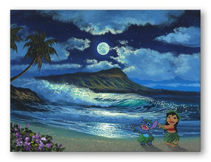 Lilo & Stitch hula dancing by the light of the moon.
