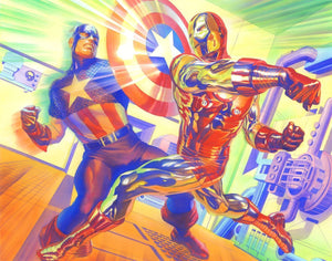 Captain America and Iron Man in battle.