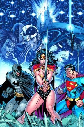 The super-hero trinity of Batman, Wonder Woman and Superman striking a pose as various foes and allies loom in the background.