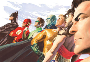 Side profile of Superman, Wonder Woman, Aquaman, Martian Manhunter, Green Lantern, The Flash and Batman.
