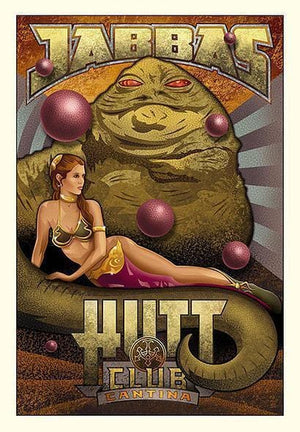 Poster style: Jabba's Hutt Club features Jabba and Princess Leia sitting on his tail.
