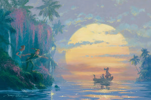 Peter Pan and Wendy discover Captain Hook and his mate sailing into the island's cove.