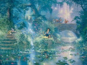 Snow White sitting at the waters edge picking flowers with her friends the Seven Dwarfs
