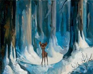 Bambi ventures into the snowy dark forest alone