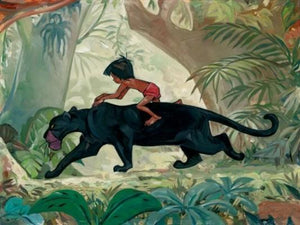 Bagheera takes Mowgli for a ride through the jungle