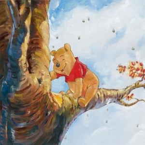 Winnie the Pooh sets on a tree branch in hope of retrieving honey from the beehive.