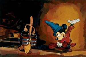 Mickey uses his magical powers to command the wooden broom to carry the buckets.