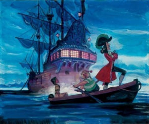 The pirate's brig is docked at Neverland bay. Captain Hook, Tiger Lily, and Smee take a small boat to shore....
