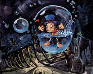 Jiminy Cricket is caught in an underwater bubble