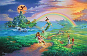 Peter Pan and Wendy near Treasure Island and a distant rainbow