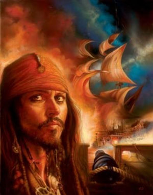 Portrait of Captain Jack Sparrow, pirate of the caribbean.