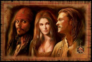 Portrait of the eccentric pirate Captain Jack Sparrow, the lovely Elizabeth Swann and the swordsman Will Turner.