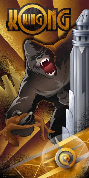 Inspired 21st century art deco artist Mike Kungl, has captured all of the glory and all of the sadness that is King Kong as he rages from the top of the Empire State Building