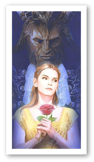 La Belle ETLa Bete by Alex Ross  Belle holding a Red Rose, the Beast is standing tall behind her.